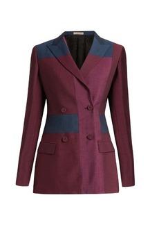 Bottega Veneta Peak-lapel patchwork wool-blend blazer