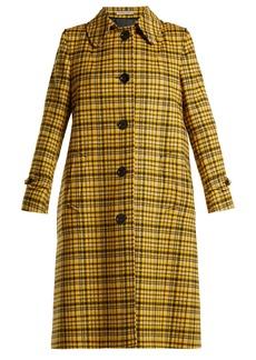 Bottega Veneta Plaid A-line wool coat