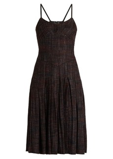 Bottega Veneta Pleated checked wool-blend dress