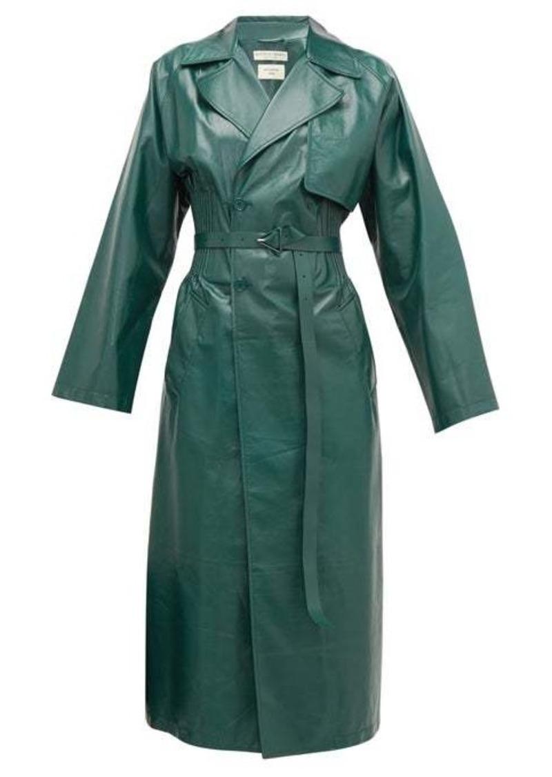 Bottega Veneta Ribbed-waist double-breasted leather trench coat