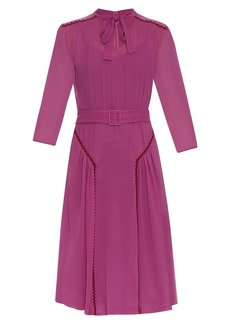Bottega Veneta Ric-rac trimmed silk midi dress