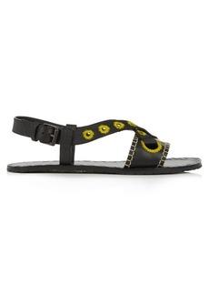 Bottega Veneta Rivet-detail embroidered leather slingback sandals