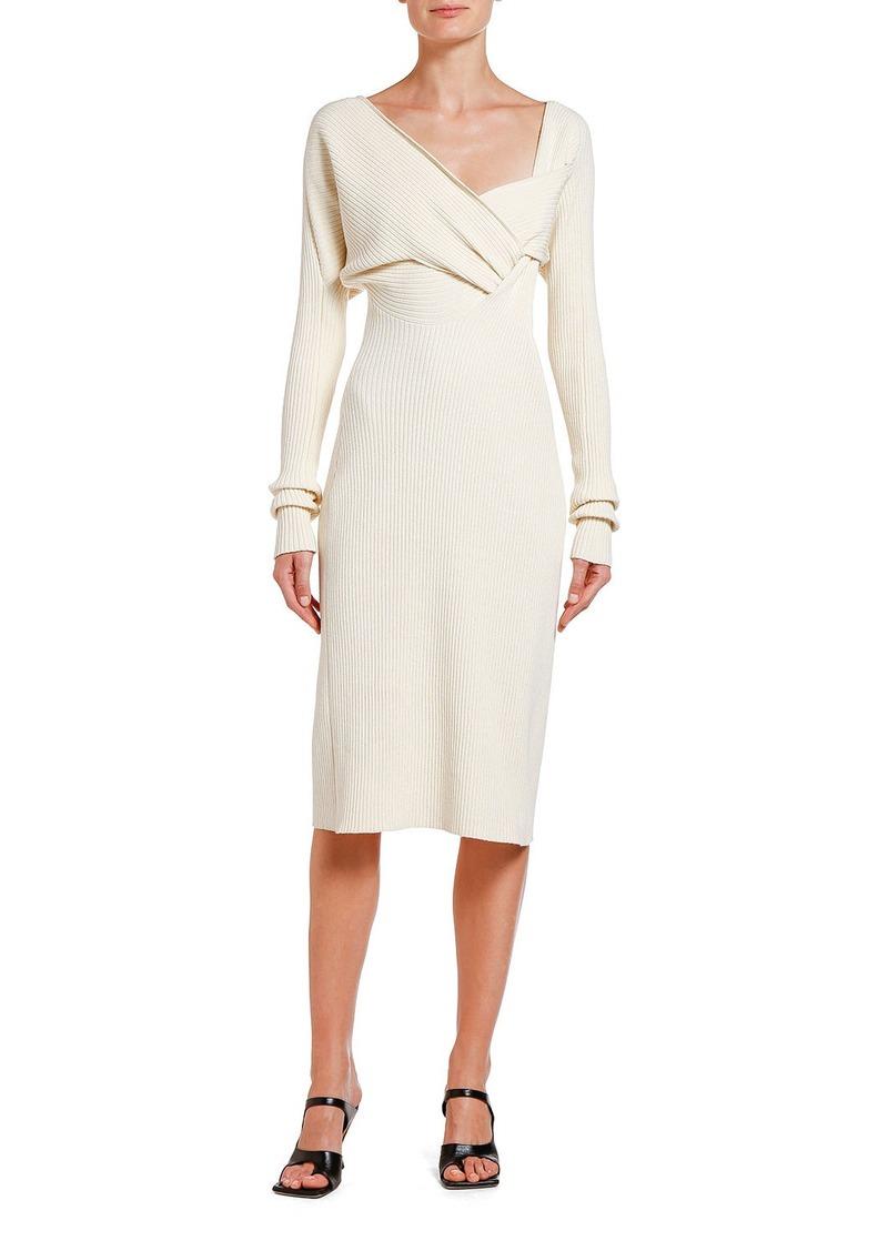 Bottega Veneta Ruched Ribbed Sweater Dress