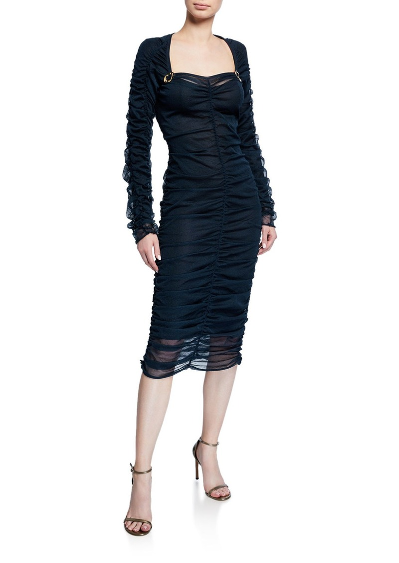 Bottega Veneta Ruched Tulle Long-Sleeve Midi Dress