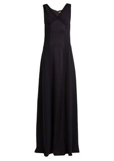 Bottega Veneta Satin-panelled embellished V-neck crepe gown