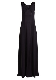 Bottega Veneta Satin-panelled embellished V-neck crepe gown