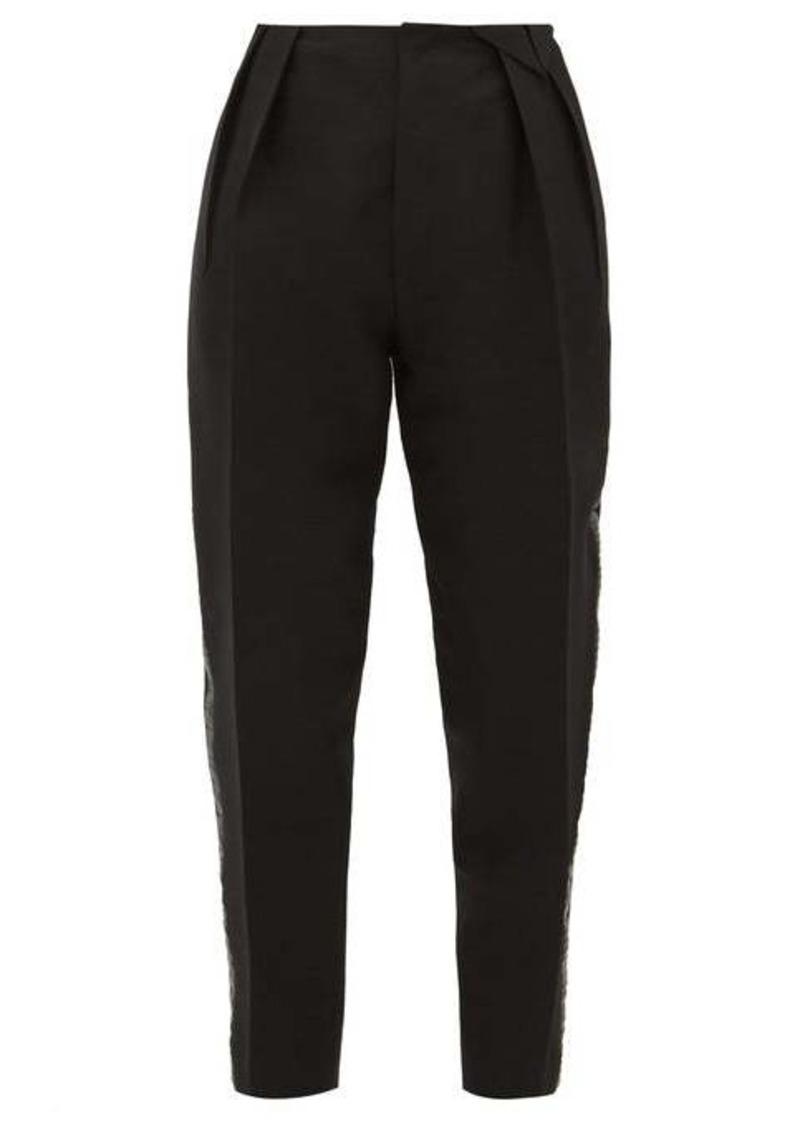 Bottega Veneta Satin-trim structured wool-blend twill trousers