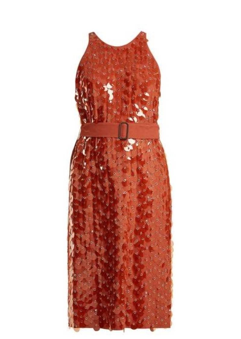 Bottega Veneta Sequin and eyelet-embellished crepe dress