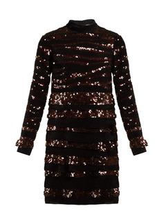 Bottega Veneta Sequin-striped velvet mini dress