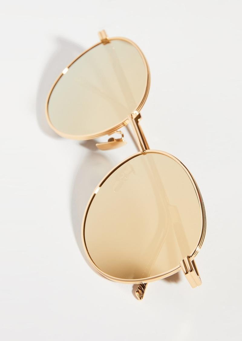 Bottega Veneta Shiny Gold Round Sunglasses