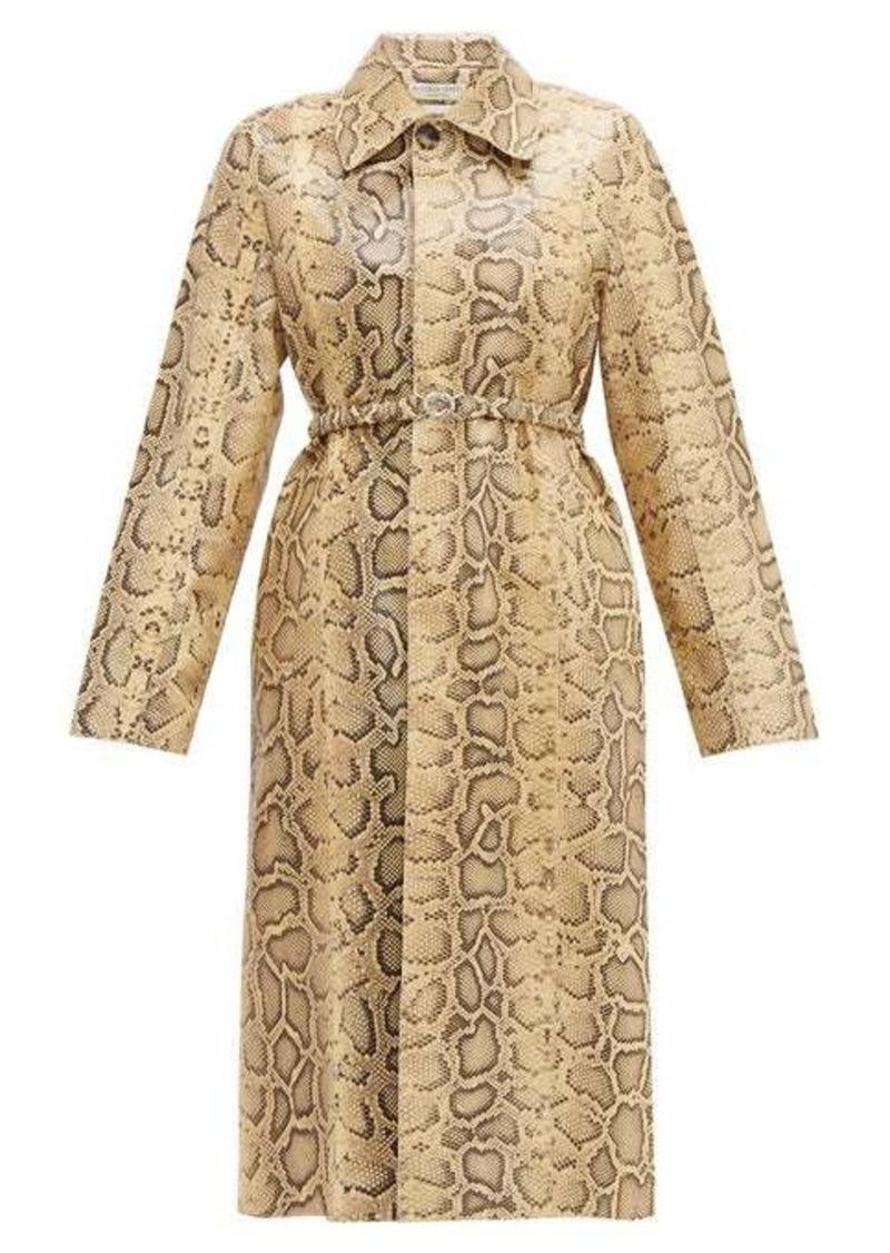 Bottega Veneta Single-breasted python-effect leather coat