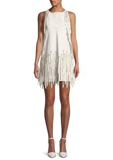Bottega Veneta Sleeveless A-Line Leather Dress w/ Fringe Metal Grommets