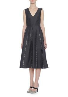 Bottega Veneta Sleeveless Embroidered Linen Dress