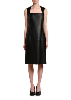 Bottega Veneta Sleeveless Square Halter-Neck Leather Dress