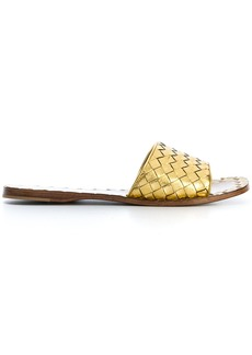 Bottega Veneta light gold Intrecciato calf sandals