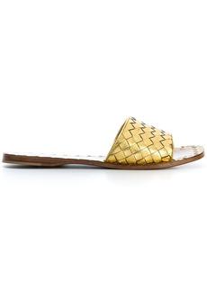 Bottega Veneta light gold Intrecciato calf sandals