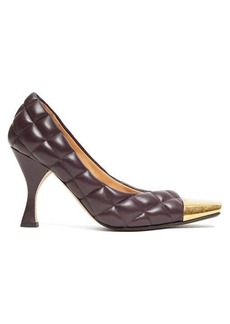 Bottega Veneta Square toe cap quilted-leather pumps