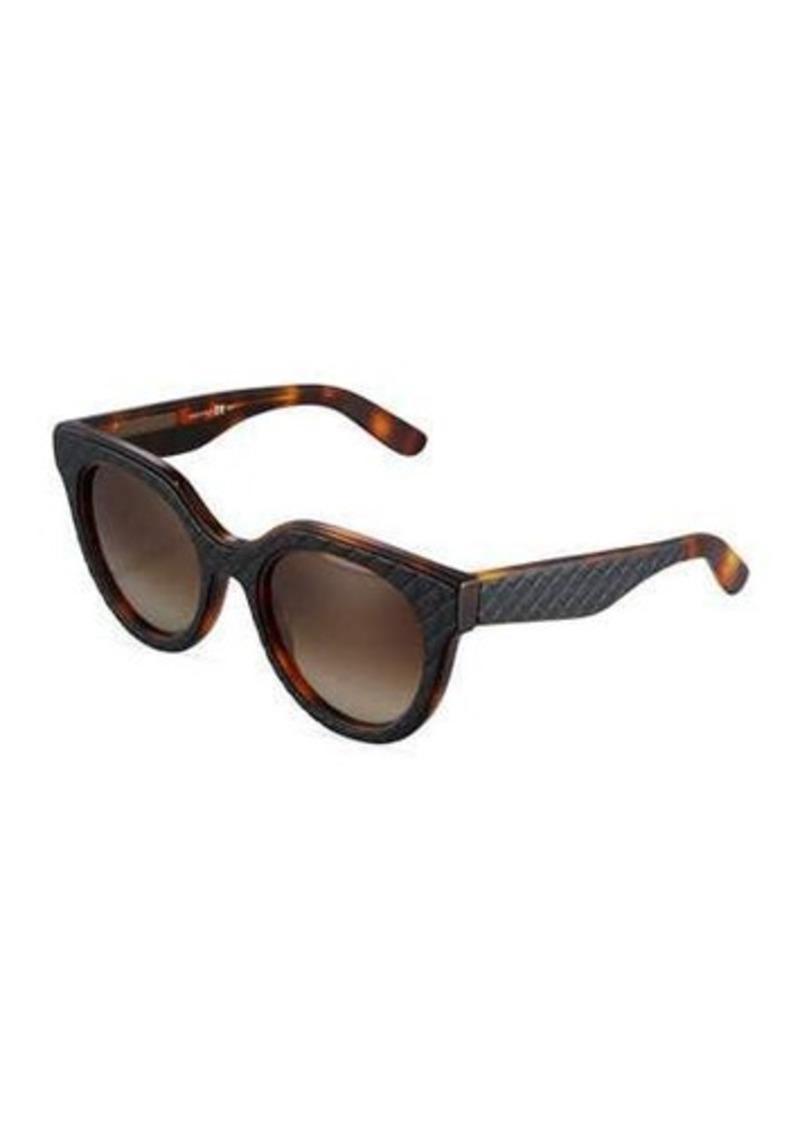 Bottega Veneta Thick Two-Tone Modified Oval Sunglasses