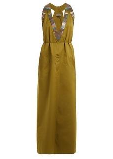 Bottega Veneta Tie-waist V-neck cotton-blend dress