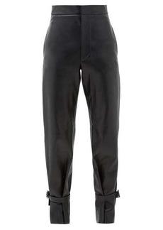 Bottega Veneta Tied-cuff leather wide-leg trousers