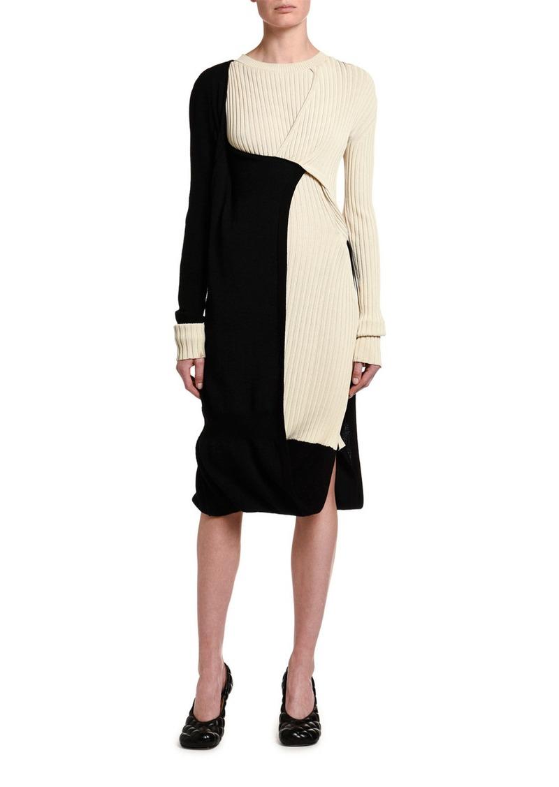 Bottega Veneta Two-Tone Ribbed Dress