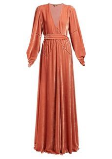 Bottega Veneta V-neck tie-waist velvet gown