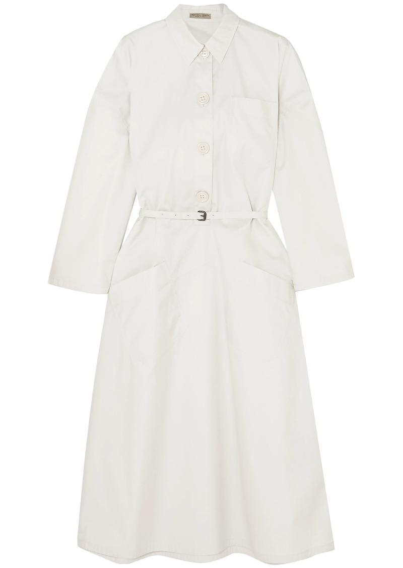 Bottega Veneta Woman Belted Cotton-blend Poplin Shirt Dress Off-white