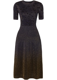 Bottega Veneta Woman Metallic Jacquard-knit Dress Indigo