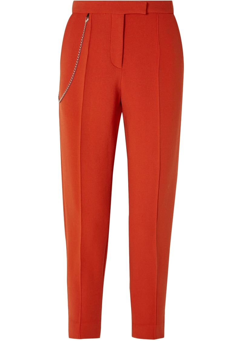 Bottega Veneta Woman Chain-embellished Wool-blend Tapered Pants Tomato Red