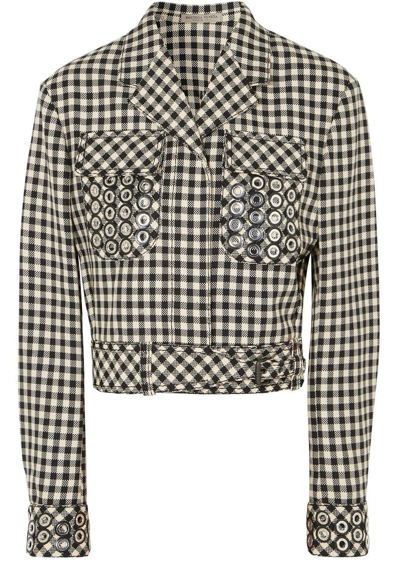 Bottega Veneta Woman Eyelet-embellished Gingham Cotton And Wool-blend Jacket Cream