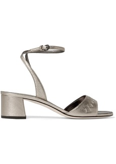 Bottega Veneta Woman Metallic Intrecciato Leather Sandals Silver