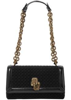 Bottega Veneta Woman Olimpia Knot Watersnake-trimmed Intrecciato Wool Shoulder Bag Black