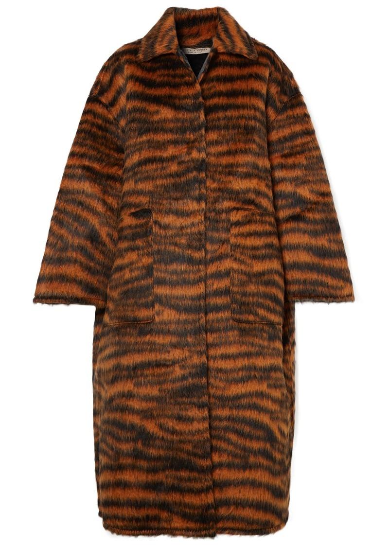 Bottega Veneta Woman Oversized Tiger-print Llama-blend Coat Black