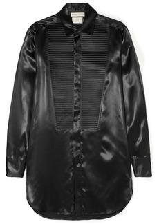Bottega Veneta Woman Pleated Ribbed Satin Shirt Black