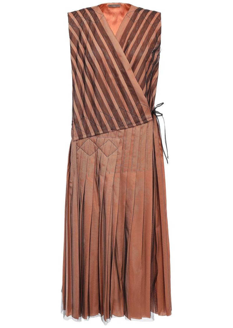 Bottega Veneta Woman Pleated Tulle Midi Wrap Dress Peach