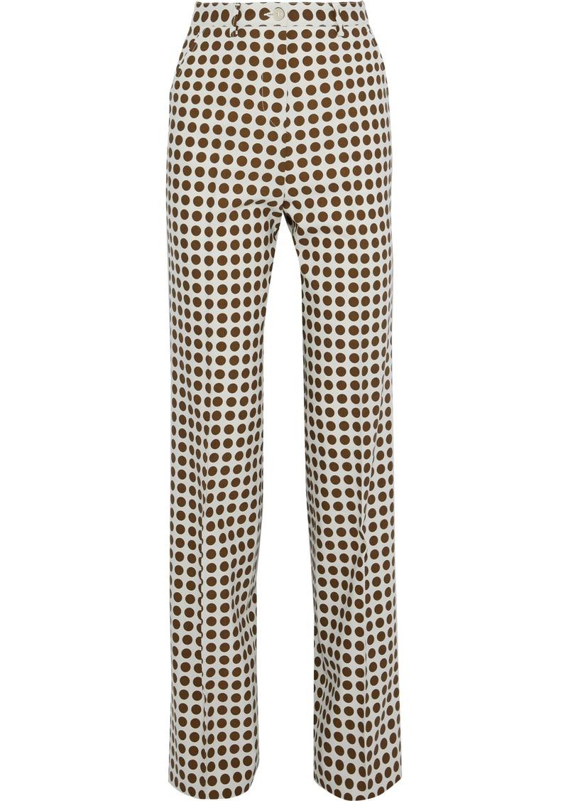Bottega Veneta Woman Polka-dot Twill Straight-leg Pants Cream