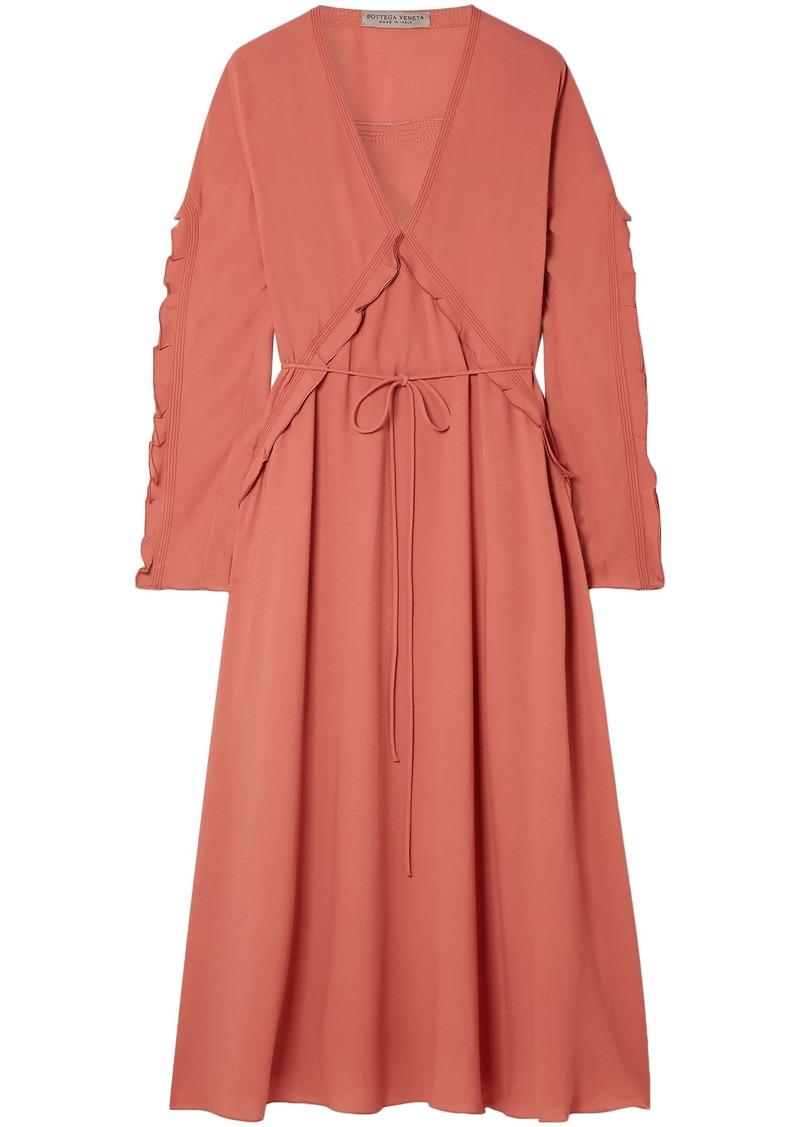 Bottega Veneta Woman Ruffle-trimmed Silk-georgette Midi Dress Coral
