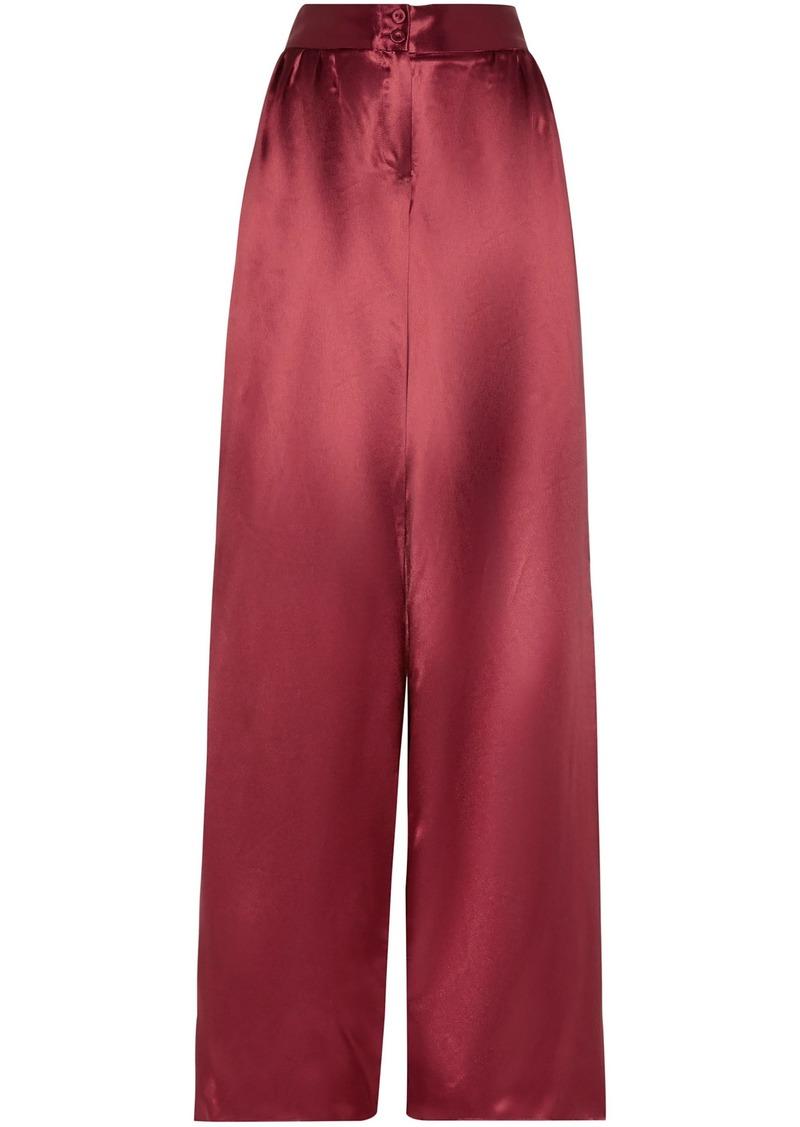 Bottega Veneta Woman Satin Wide-leg Pants Claret