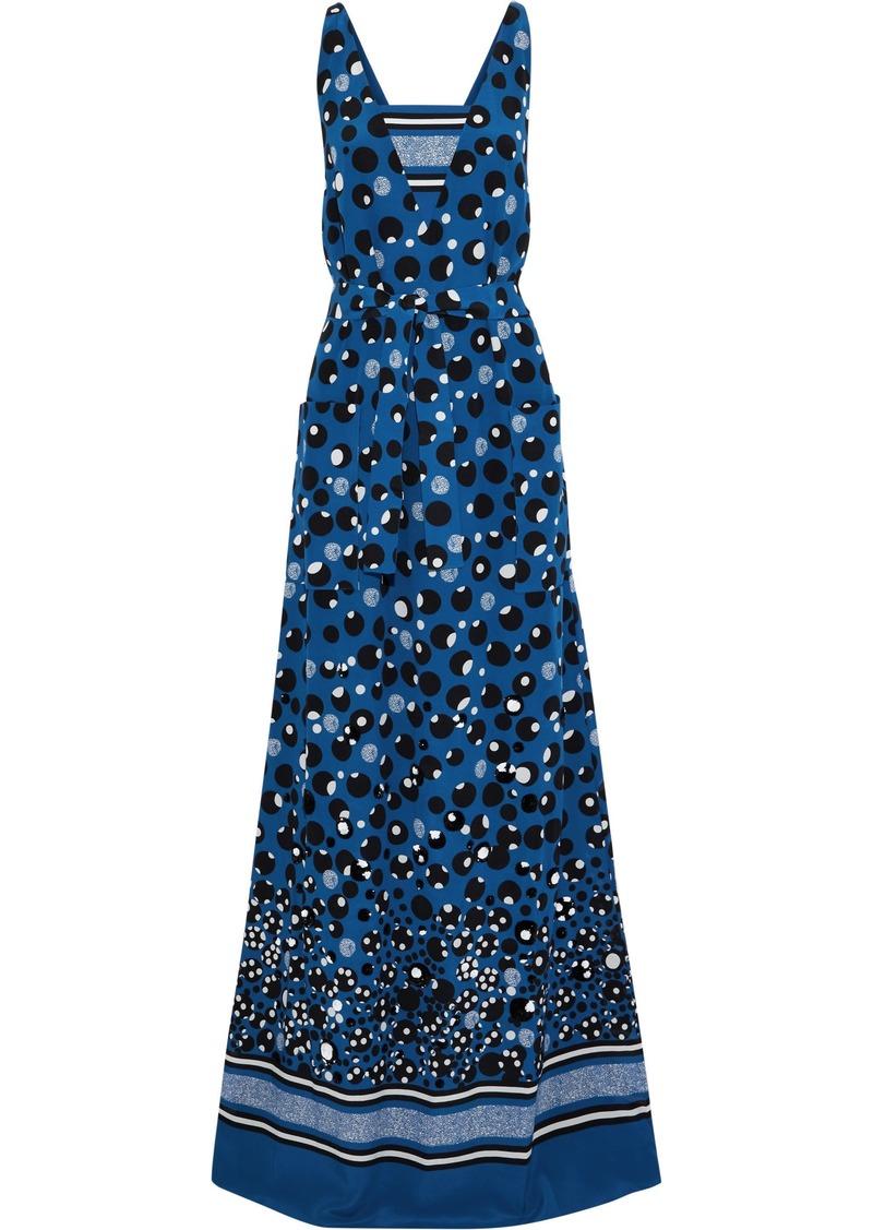 Bottega Veneta Woman Sequin-embellished Printed Silk Crepe De Chine Maxi Dress Blue