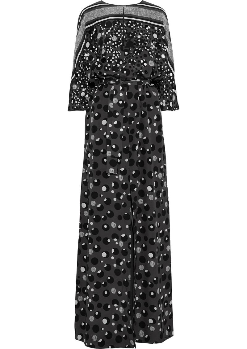 Bottega Veneta Woman Sequin-embellished Printed Silk Crepe De Chine Maxi Dress Dark Gray