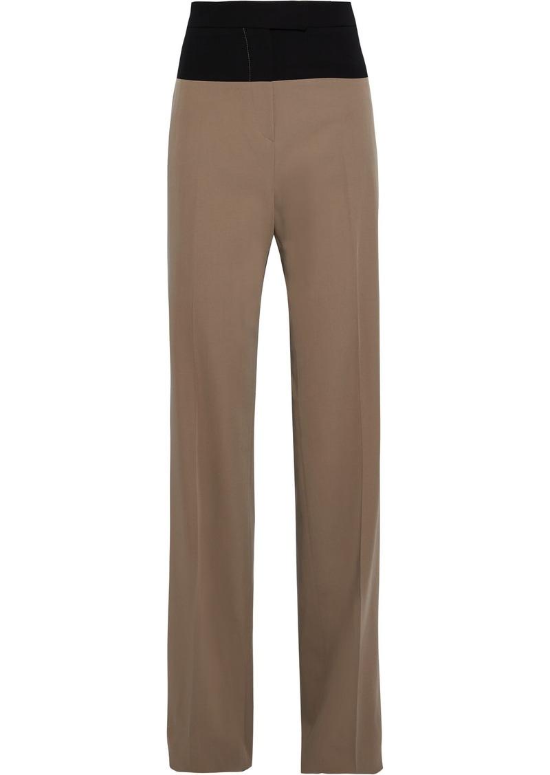 Bottega Veneta Woman Two-tone Wool-twill Straight-leg Pants Mushroom