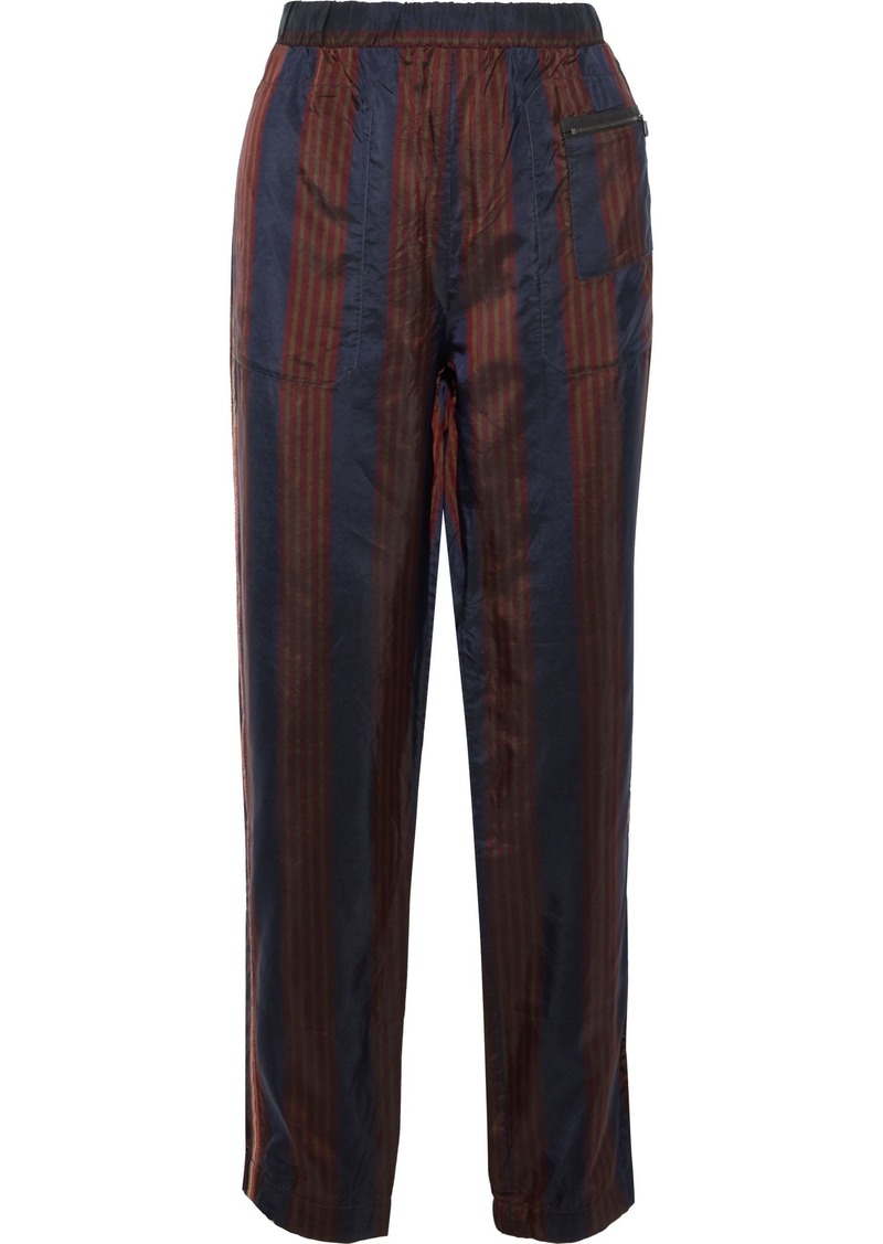 Bottega Veneta Woman Woven-trimmed Striped Shell Straight-leg Pants Burgundy