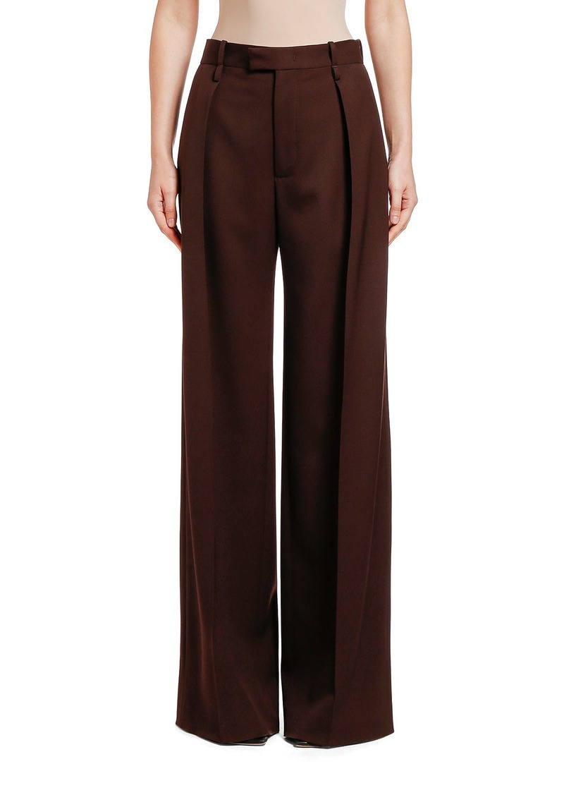 Bottega Veneta Wool Wide-Leg Pants  Brown