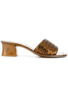 Bottega Veneta woven block heel sandals - Brown