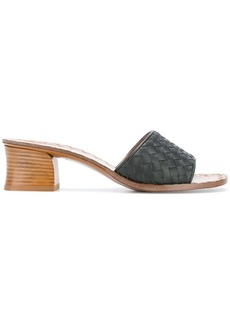 Bottega Veneta woven block heel sandals - Green