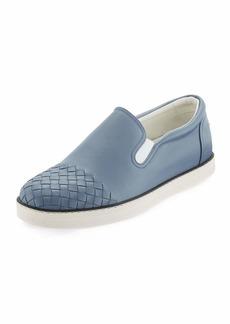 Bottega Veneta Woven-Toe Leather Skate Shoe