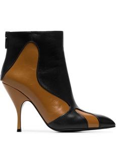 Bottega Veneta brown and black curl 100 leather boots
