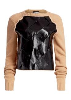 Bottega Veneta Brushed Wool & Basketwoven Leather Sweater