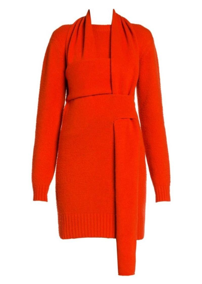 Bottega Veneta Brushed Wool Woven Sweaterdress