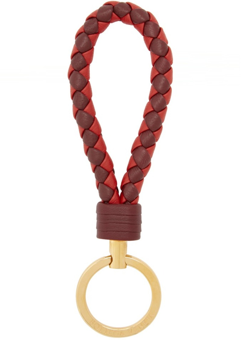 Bottega Veneta Burgundy & Red Intrecciato Loop Keychain